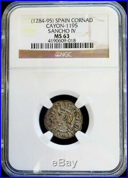 1284-1295 Silver Spain Castile And Leon Sancho IV Cornado Ngc Mint State 63