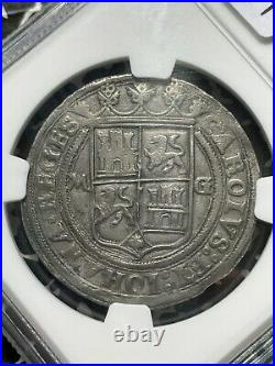 (1542-1555)-M G Mexico Carlos & Joanna 4 Reales NGC AU50 Lot#G597 Silver! Scarce
