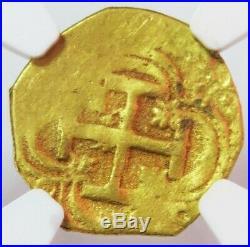 1556 -1598 S B Gold Spain Escudo Felipe II Cob Seville Mint Ngc Uncirculated