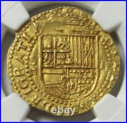 1556-1598 S D Gold Spain 2 Escudo Ngc Ms 63 Seville Mint Philip II Square D