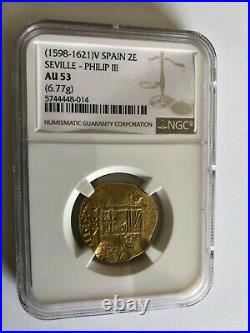 1598-1621 Spain 2 Escudos Gold King Philip III Seville Mint NGC AU 53