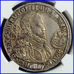 1598, Hungary, Rudolph II. Silver Thaler Coin. Nagybanya mint! Rare! NGC AU-58