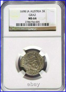 1698 IA Austria 3 Kreuzer, NGC MS 64, KM-1115 Superb Example Hogmouth Graz Mint