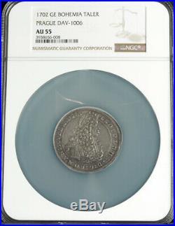 1702, Bohemia, Emperor Leopold I. Silver Thaler Coin. Prague mint! NGC AU-55