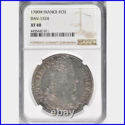 1709 H France Ecu, NGC XF 40, La Rochelle Mint, Scarce Date, Louis XIV