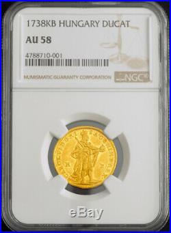 1738, Kingdom of Hungary, Charles VI. Gold Ducat Coin. Kremnitz mint! NGC AU-58