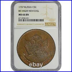 1757 Russia Copper 5 Kopek NGC MS64 BN, BIT-H428 Novodel, Mint State