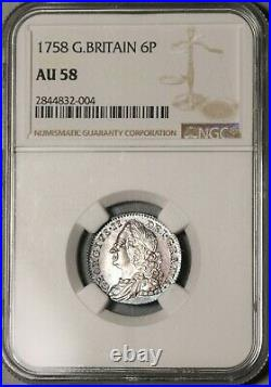 1758 NGC AU 58 George II 6 Pence Great Britain Near Mint Silver Coin (20082001C)