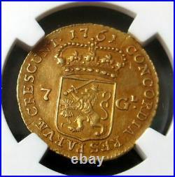 1761 Gold Netherlands 7 Gulden Coin Zeeland Mint Ngc About Uncirculated 58