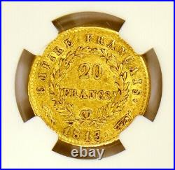 1813 France Utrecht Netherlands Mint 20 Francs Gold Coin Napoleon NGC XF45