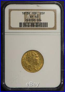 1818A FRANCE Gold 20 FRANCS NGC XF 45 LOUIS XVIII. 1867 AGW Lot#R726