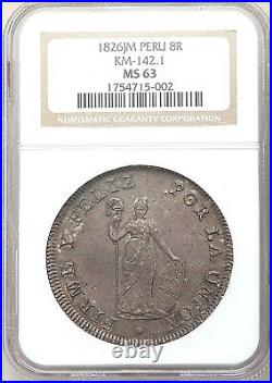 1826 Peru 8 reales Lima silver crown peso NGC MS 63 SECOND FINEST Mint Republic
