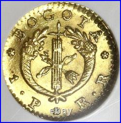 1827 NGC MS 62 Colombia Gold 1 Peso Bogota Mint State Coin POP 2/1 (19102303C)