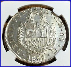 1828 G Peru 8 reales Cuzco Cusco NGC UNCIRCULATED Mint pcgs Not Lima Republic