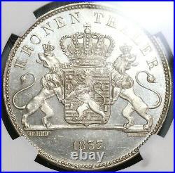 1837 NGC MS 63 Nassau Thaler Mint State Geman Near PL Taler Coin (19100405C)