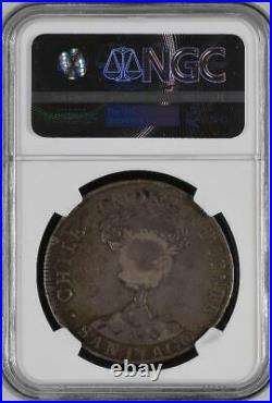 1837 Philippines 8 Reales Counter Stamped Chile Silver Peso IJ Mint NGC VF-25