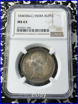 1840 (B&C) India 1 Rupee NGC MS63 Lot#G260 Silver! Choice UNC