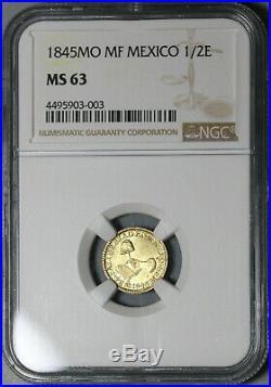 1845-Mo MS 63 Mexico Gold 1/2 Escudo Mint State Coin POP 1/2 (20011001C)