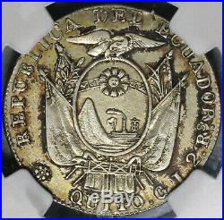 1849 NGC XF Det Ecuador 2 Reales Quito Mint Silver Coin (19100601C)