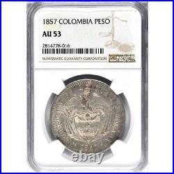 1857 Colombia Peso, NGC AU 53, Bogota Mint, Scarce in AU, KM 118