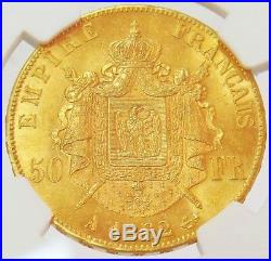 1862 A Gold France 50 Francs Napoleon III Coin Ngc Mint State 61