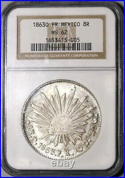 1863-O NGC MS 62 Mexico 8 Reales Oaxaca Mint Scarce Silver Coin (20070401C)