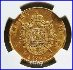 1864 A Gold France 50 Francs Napoleon III Ngc Mint State 61
