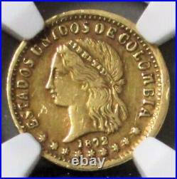 1872 Gold Colombia 2 Pesos Lady Liberty Coin Medellin Mint Ngc Extra Fine 40