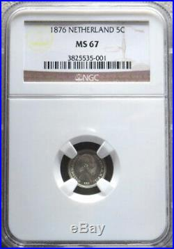 1876 Silver Netherlands 5 Cents Ngc Mint State 67