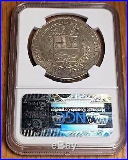 1880 Peru 5 Pesetas with Dot NGC MS 62 reales silver crown Lima sol Mint 5P