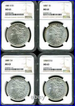 1881-S, 1887, 1889 & 1900-O Morgan Silver Dollar Lot of 4 MS63 NGC 6260343-046