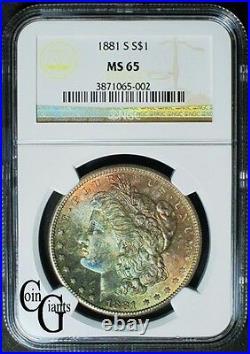 1881-S Morgan Silver Dollar NGC MS65 GEM BU Rainbow Toned San Francisco Mint S$1