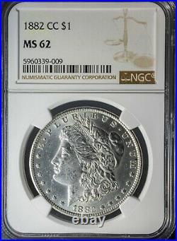 1882-CC Morgan Silver Dollar NGC MS-62 Carson City Mint