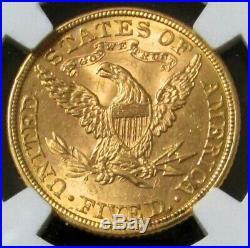 1882 Gold Us $5 Liberty Head Half Eagle Ngc Mint State 63