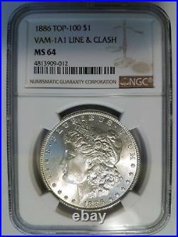 1886 Silver Morgan Dollar NGC MS 64 Vam 1A1 Line & Clash Mint Error Top 100