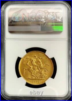1887 Gold Great Britain 2 Pounds (double Sovereign) Coin Ngc Mint State 60