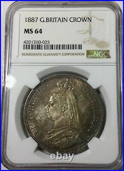 1887 Great Britain Crown NGC MS64 Mint State Coin Original light Toner Nice