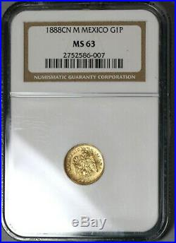1888-Cn NGC MS 63 Mexico Gold 1 Peso Coin Culiacan Mint State (19102401C)