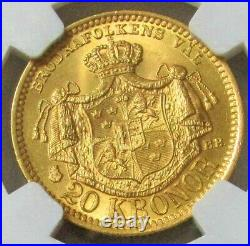 1889 Eb Gold Sweden 20 Kronor Coin Oscar II Ngc Mint State 65