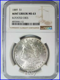 1889 Morgan Silver Dollar NGC MS 63 Rotated Dies 30 Degrees Mint Error Coin