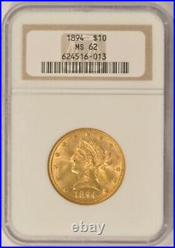 1894 $10 Gold Liberty Eagle Coin NGC MS62 Philly Mint in an Older Holder