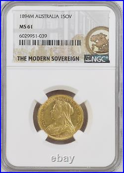 1894 Full Sovereign Melbourne NGC MS61 Mint State