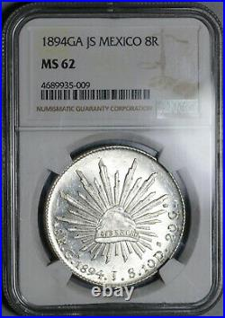 1894-Ga NGC MS 62 Mexico 8 Reales Guadalajara Mint State Silver Coin (19112403C)