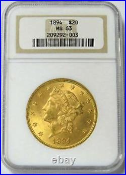 1894 Gold Us $20 Liberty Head Ngc Mint State 63 Double Eagle Coin