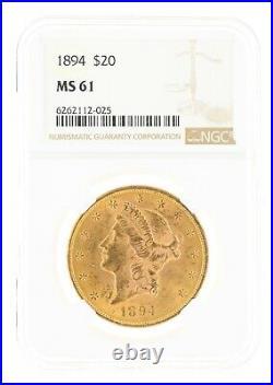 1894 NGC MS61 $20 Liberty Head Double Eagle Philadelphia Minted Twenty Dollar