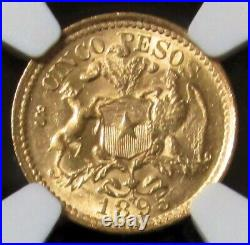 1895 So Gold Chile 5 Pesos Santiago Mint Ngc Mint State 63