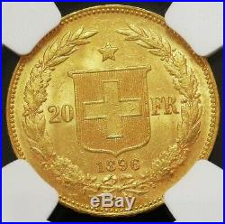 1896 B Gold Switzerland 20 Francs 3 Stars Front Of Face On Rim Ngc Mint State 63