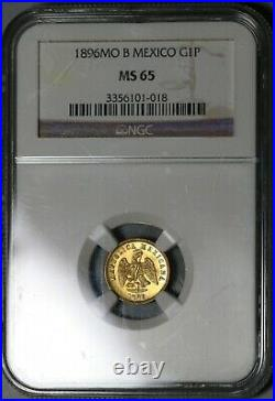 1896-Mo NGC MS 65 Mexico Gold 1 Peso Coin 7166 Minted POP 7/0 (20112802C)