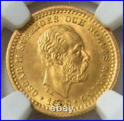 1899 Eb Gold Sweden 5 Kronor Coin Oscar II Ngc Mint State 65