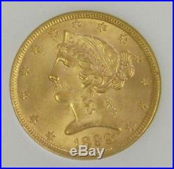 1899 Gold $5 Liberty Head Ngc Mint State 63 Half Eagle Coin